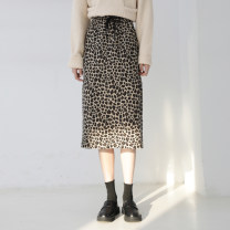 skirt Autumn 2020 Average size Khaki leopard, Gray Blue Leopard Middle-skirt commute High waist other Leopard Print Type H 963ff More than 95% Other / other cotton Lace up, printed Korean version