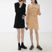 Dress Spring 2021 Black, apricot yellow S, M Middle-skirt singleton  Long sleeves commute Doll Collar High waist Solid color Single breasted A-line skirt routine Type A Other / other Button 997gj 71% (inclusive) - 80% (inclusive) polyester fiber