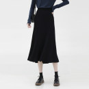 skirt Spring 2021 Average size black , Oatmeal ash , Flower grey , Bordeaux red Mid length dress commute High waist Solid color Type A 905ed 31% (inclusive) - 50% (inclusive) knitting Other / other Viscose fold Korean version
