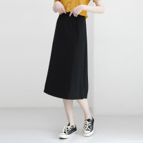 skirt Spring 2021 Average size black , Grape violet , Lilac Mid length dress commute High waist A-line skirt Solid color Type A 980di 51% (inclusive) - 70% (inclusive) Other / other other zipper Korean version