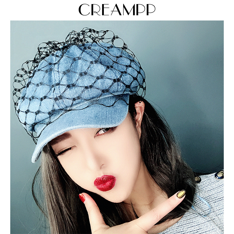 Hat Denim Dark light M(56-58cm) Octagon / newspaper / painter's hat Spring summer autumn winter female leisure time Middle aged youth dome Wide eaves