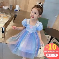 Dress Blue court dress female Other / other 90cm,100cm,110cm,120cm,130cm Other 100% summer princess Short sleeve Solid color other Princess Dress 12 months, 3 years, 6 years, 18 months, 9 months, 6 months, 2 years, 4 years, 5 years Chinese Mainland