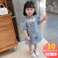 suit Other / other 90cm,100cm,110cm,120cm,130cm female summer Korean version Short sleeve + skirt 2 pieces Thin money There are models in the real shooting Single breasted nothing Solid color Denim children Expression of love Other 100% Chinese Mainland