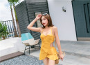one piece  Tongtong swimsuit M,L,XL yellow Steel strap breast pad female Sleeveless Casual swimsuit