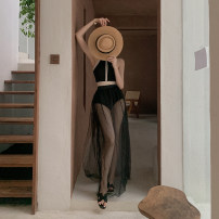Bikini Tongtong swimsuit black M,L,XL Skirt bikini With chest pad without steel support nylon