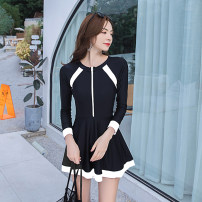 one piece  Tongtong swimsuit XXL,XL,L,M black Skirt one piece With chest pad without steel support Nylon, spandex, polyester female Long sleeves Casual swimsuit