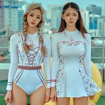 one piece  Tongtong swimsuit S,M,L,XL A triangle, B skirt Skirt one piece With chest pad without steel support polyester fiber female Long sleeves Casual swimsuit