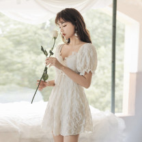 one piece  Tongtong swimsuit XL,L,M Off white Skirt one piece With chest pad without steel support Others, nylon female Short sleeve Casual swimsuit Solid color