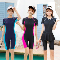 one piece  Tongtong swimsuit One piece flat corner swimsuit With chest pad without steel support Nylon, spandex, others female Short sleeve Casual swimsuit Solid color, others