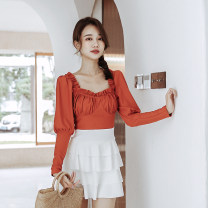 one piece  Tongtong swimsuit M,L,XL orange Skirt one piece With chest pad without steel support female Long sleeves Casual swimsuit