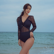 one piece  Sanqi M,L,XL black Triangle one piece swimsuit With chest pad without steel support Others, spandex, nylon female Long sleeves Casual swimsuit