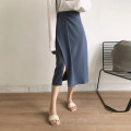 skirt Summer 2020 S,M,L Black, apricot, blue Mid length dress commute High waist Suit skirt Solid color Type H 25-29 years old 51% (inclusive) - 70% (inclusive) Chiffon Other / other Fold, asymmetric Ol style