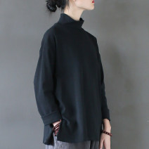 shirt Black, white Average size Autumn of 2019 cotton 96% and above Long sleeves commute Regular High collar Socket routine Solid color 25-29 years old Straight cylinder literature Patching, patching Cotton and hemp