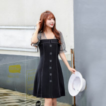 Dress Summer 2020 black M,L,XL Short skirt Fake two pieces Short sleeve commute square neck High waist Solid color zipper A-line skirt puff sleeve Others 25-29 years old Type X Cherry More than 95% other other