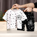 suit Other / other White, black 90cm,100cm,110cm,120cm,130cm,140cm,150cm,160cm male summer leisure time Short sleeve + pants 2 pieces routine No model Socket nothing Cartoon animation 18 months, 2 years old, 3 years old, 4 years old, 5 years old, 6 years old, 7 years old, 8 years old, 9 years old