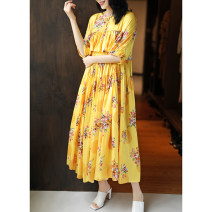 Dress Summer 2020 printing S, M longuette singleton  Short sleeve Sweet Crew neck middle-waisted Decor Socket Others 25-29 years old Vicksan W20CL2519 51% (inclusive) - 70% (inclusive) silk solar system
