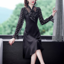Dress Spring 2021 black M,L,XL,2XL,3XL Mid length dress Fake two pieces Nine point sleeve commute V-neck middle-waisted Solid color Socket A-line skirt pagoda sleeve Others 35-39 years old Type A Korean version 71% (inclusive) - 80% (inclusive) Chiffon silk
