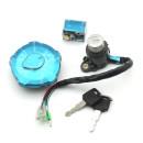 Motorcycle lock Jackie Cheng Front lock (send 2 screws), electric door lock, 5-angle fuel tank cover, 3 locks, one set