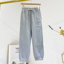 Casual pants grey S,M,L Spring 2021 trousers Straight pants Natural waist commute routine 81% (inclusive) - 90% (inclusive) cotton Korean version cotton