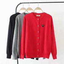 Women's large Autumn of 2019 Red, grey, black Big 2XL, big 3XL, big 4XL Knitwear / cardigan singleton  commute easy moderate Cardigan Long sleeves Shape, solid color Korean version Crew neck routine other routine Embroidery 30% and below