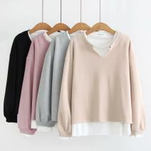 Women's large Autumn of 2019 Grey, black, beige, pink Large XL, large 2XL, large 3XL, large 4XL Sweater / sweater Fake two pieces commute easy moderate Socket Long sleeves Solid color Korean version Crew neck Medium length Polyester, cotton routine 96% and above