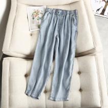 Women's large Summer 2020 Denim blue Large XL, large 2XL, large 3XL, large 4XL trousers singleton  commute easy thin Solid color Korean version Polyester, cotton, others Button 81% (inclusive) - 90% (inclusive) Ninth pants