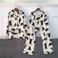 Women's large Winter of 2019, autumn of 2019 Decor Large XL, large L Other oversize styles Two piece set street easy moderate Cardigan Long sleeves Animal design Medium length cotton printing and dyeing routine 96% and above trousers Europe and America