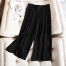 Women's large Summer 2020, spring 2020 black Large XL, large 2XL, large 3XL, large 4XL trousers singleton  commute easy thin Solid color Korean version polyester 81% (inclusive) - 90% (inclusive) Ninth pants