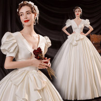 Wedding dress Spring 2021 white S XL XXL XXXL M L Korean version Long tail Bandage Hotel Interior One shoulder satin Three dimensional cutting middle-waisted 18-25 years old flower Sleeved shawl Princess tribe Pure e-commerce (online only) Polyethylene terephthalate (polyester) 100% 96% and above