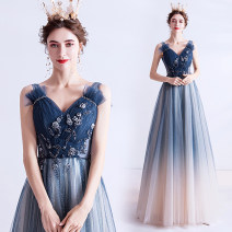 Dress / evening wear Wedding adult party company annual meeting performance S XS M L XL XXL XXXL blue sexy longuette middle-waisted Spring 2020 Self cultivation Deep collar V Bandage 18-25 years old 1609A Sleeveless Embroidery Princess tribe Polyethylene terephthalate (polyester) 100% 96% and above