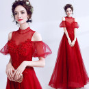 Dress / evening wear Wedding ceremony company annual meeting performance S XS M gules fashion longuette middle-waisted Spring of 2019 Fluffy skirt stand collar Bandage 18-25 years old 2416A Short sleeve Nail bead Princess tribe Polyethylene terephthalate (polyester) 100% Pure e-commerce (online only)