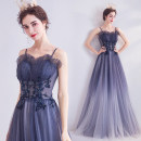Dress / evening wear Wedding adult party company annual meeting performance S XS M L XL XXL XXXL blue grace longuette middle-waisted Autumn of 2019 Self cultivation Sling type Bandage 18-25 years old Sleeveless Embroidery Princess tribe Polyethylene terephthalate (polyester) 100% 96% and above