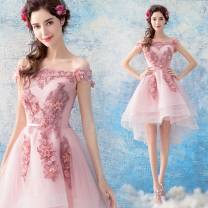 Dress / evening wear Wedding adult party company annual meeting performance S XL XS XXL XXXL M L Pink Korean version Medium length middle-waisted Spring of 2018 A-line skirt One shoulder Hollowing out 18-25 years old flower Princess tribe Polyethylene terephthalate (polyester) 100%