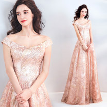 Dress / evening wear Wedding adult party company annual meeting performance XS S M L XL XXL XXXL Rose crystal powder fashion longuette middle-waisted Summer of 2018 A-line skirt One shoulder Bandage 18-25 years old Sleeveless Nail bead Princess tribe Polyester 100% Pure e-commerce (online only)