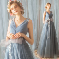 Dress / evening wear Wedding ceremony party company annual meeting performance routine XS S M L XL XXL XXXL Fog blue fashion longuette middle-waisted Spring of 2018 Fall to the ground Deep collar V Bandage 18-25 years old 761* Sleeveless Princess tribe Polyester 100%