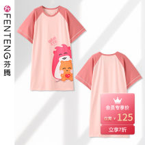 Nightdress Finthen  155(S) 160(M) 165(L) 170(XL) 175(XXL) Cartoon Short sleeve pajamas Middle-skirt summer Cartoon animation youth Crew neck cotton printing More than 95% Knitted cotton fabric 200g and below Summer 2020 Cotton 92.5% polyurethane elastic fiber (spandex) 7.5%
