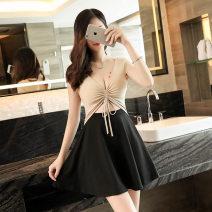 Dress Autumn of 2018 White, red, apricot S,M,L Short skirt singleton  Short sleeve V-neck High waist Solid color Socket Big swing
