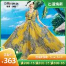 Dress Summer 2020 yellow S,M,L,XL,2XL,3XL,4XL longuette singleton  Long sleeves commute V-neck High waist Decor Big swing routine 40-49 years old Type A Tiffany Runchi Button SS9170 More than 95% Chiffon polyester fiber