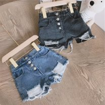 trousers Maidou story female Black, blue summer shorts Korean version Official pictures Jeans Button / zipper middle-waisted Denim Don't open the crotch Other 100% Class B 2 years old, 3 years old, 4 years old, 5 years old, 6 years old, 7 years old, 8 years old