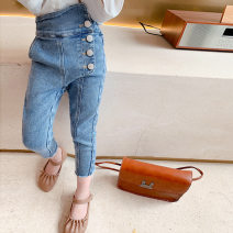 trousers Maidou story female 7 (recommended height 95-100cm), 9 (recommended height 100-105cm), 11 (recommended height 105-115cm), 13 (recommended height 115-120cm), 15 (recommended height 120-130cm) Dark blue, black (T-shirt, another photo) spring and autumn Ninth pants Korean version Jeans Denim