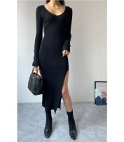 Dress Winter 2020 Black, apricot Average size longuette singleton  Long sleeves commute V-neck High waist Solid color Socket One pace skirt routine 25-29 years old Type H Splicing knitting polyester fiber