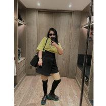 Women's large Winter 2020 black Large XL, 2XL, 3XL, 4XL skirt commute thick Solid color Simplicity polyester fiber Qbxx studio / pencil Xiaoxin Button Short skirt shorts