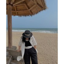Women's large Spring 2021 Black, white [in stock] Large XL, 2XL, 3XL, 4XL shirt singleton  commute moderate Short sleeve Solid color Simplicity routine Qbxx studio / pencil Xiaoxin Medium length trousers