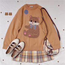 sweater Winter 2020 Average size Blue, black, caramel Long sleeves Socket singleton  Regular cotton 51% (inclusive) - 70% (inclusive) Crew neck Regular commute routine Cartoon animation Straight cylinder Regular wool 18-24 years old Other / other