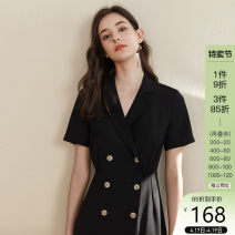 Dress Summer of 2019 XS,S,M,L,XL Mid length dress singleton  Short sleeve commute tailored collar High waist Solid color double-breasted A-line skirt routine 25-29 years old Type A Van schlan Korean version Button Z90148 More than 95% Chiffon polyester fiber