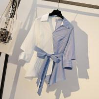 Women's large Summer 2020, autumn 2020 Blue with white M suggests 80-100kg, l 100-120kg, XL 120-143kg, 2XL 145-168kg, 3XL 170-200kg shirt singleton  thin Socket three quarter sleeve stripe Polo collar routine routine