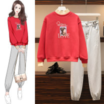 Women's large Winter 2020, autumn 2020 M suggests 80-100kg, l 100-120kg, XL 120-143kg, 2XL 145-168kg, 3XL 170-200kg Two piece set commute easy thickening Socket Long sleeves Cartoon animation Korean version Crew neck routine Denim, cotton Three dimensional cutting routine Embroidery trousers