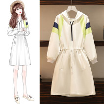 Women's large Autumn 2020 white M for 90-105 kg, l for 105-125 kg, XL for 125-145 kg, XXL for 145-165 kg, XXXL for 165-190 kg Dress singleton  commute easy moderate Socket Long sleeves Solid color Hood other Three dimensional cutting routine Bandage Medium length other bow