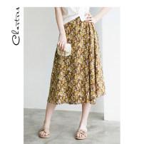 skirt Summer 2021 M L Brown Black Middle-skirt Versatile Natural waist A-line skirt Broken flowers C21AD909 Chartres