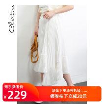 skirt Summer of 2019 S M L White black Middle-skirt Versatile Natural waist Pleated skirt More than 95% Chartres polyester fiber Polyester 100%